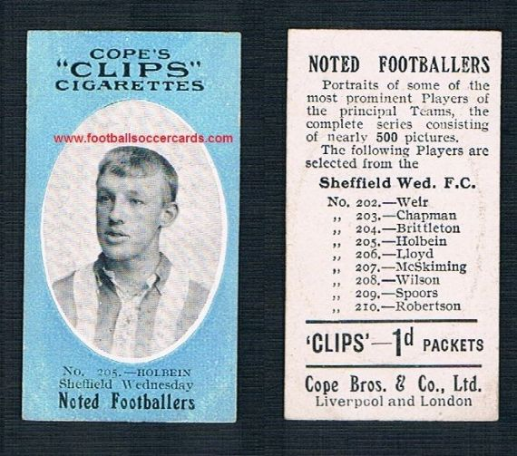 1910 Cope Brothers Noted Footballers 500 series Holbein Sheffield Wednesday 205